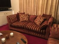 Luxury 4 piece suite. Red/gold. 3 seater, 2seater sofas, snuggle chair and armchair.