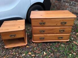 Pine chest of drawers and bedside table cabinet