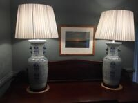 Pair Oka style blue Chinese ceramic jar lamps