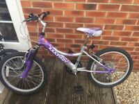 Girls Silver & Purple Mountain Bike with Gears and Bell