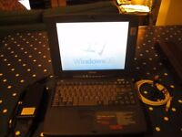 Toshiba vintage Laptop Windows 98 2nd edition. Model S1670CDS power charger and case