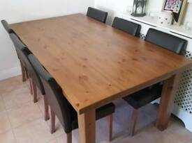 Rustic Solid Oak Table with 6 Faux Leather Chairs