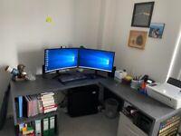 Large wooden corner desk