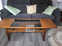 Glass coffee table with shelf 1370mm x 550mm x435mm