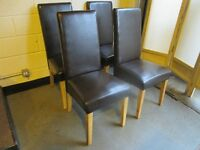 SET OF FOUR BROWN FAUX LEATHER UPHOLSTERED HIGH BACK DINING CHAIRS FREE DELIVERY
