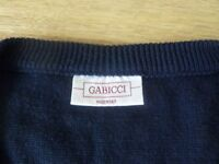 Gabicci sweater, vintage, classic Italian styling, XL, blue with suede insert