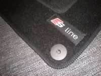 """Car Mats in Black to fit Audi A3 8P (2003-2012) + """"S-Line"""" Logos (x4) NEW AND S LINE CAR SEAT COVER"""