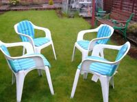 4 garden chairs with blue and green covers