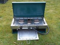 Camping stove, 2 ring with grill, also Gas Bottle