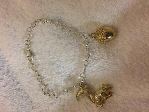 Gold plated squirrel and acorn bracelet charms