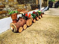 Hand Crafted Wooden Train flower pots