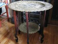 antique table chinoise brass