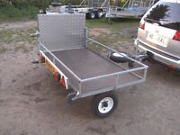 MOBILITY SCOOTER ETC TRANSPORTER TRAILER WITH RAMP FULLY GALVANISED FACTORY BUILT.