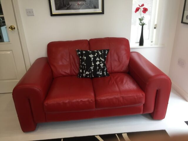 2 Seater Red Leather Sofa. Hardly used looks like new. 1600 W x 900 D x 850 H | in Doncaster, South Yorkshire | Gumtree