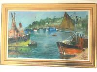 Cornish Fishing Village Oil Painting