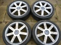 "FORD 18"" 5 STUD ALLOY WHEELS WITH V.G.TYRES AND NUTS"