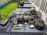 Carp fishing tackle full set up.