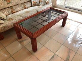 Wood Frame Glass Coffee Table