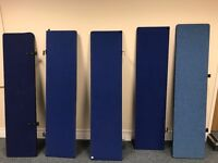 5 x blue pre owned office Desk Dividers (job lot) FREE