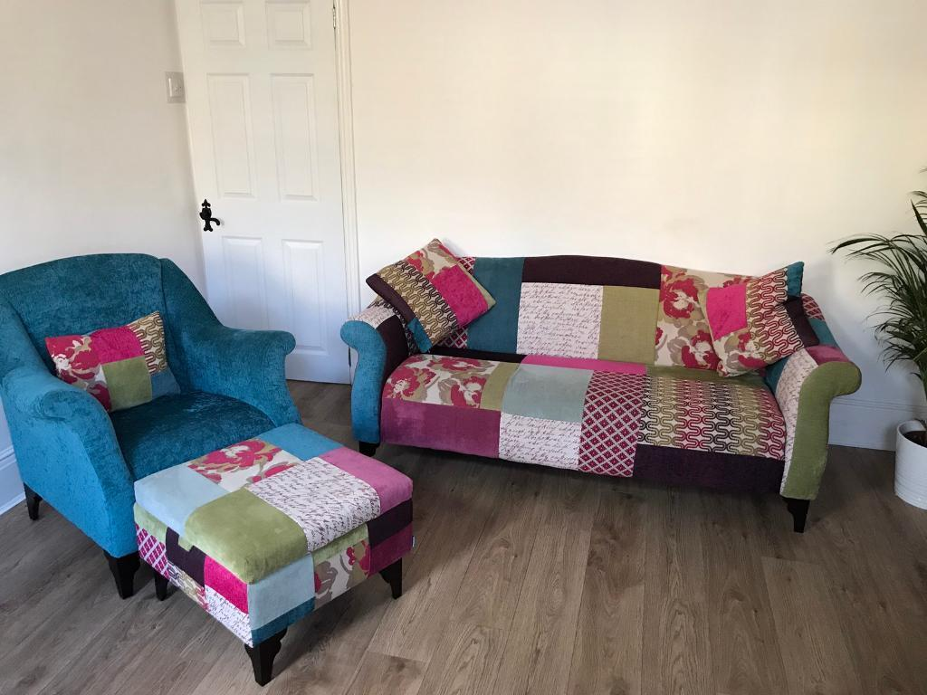Dfs Shout Patchwork 3 Seat Sofa Armchair And Storage Footstool In