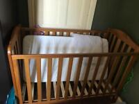 Darlington Mothercare cot with mattress and baby quilt