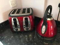 Russell Hobbs matching red kettle and red toaster