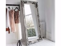 BLACK FRIDAY WEEK SPECIAL New Carved Louis Massive 6x3 ft Silver Leaner Mirror £149 ENDS SUNDAY 26th