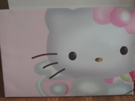 HELLO KITTY BOARDED PINK CANVAS & 2 SOFT TOY BUNDLE GIRLS BEDROOM