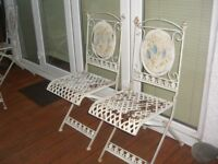 LOVELY SET OF FOUR WROUGHT IRON CHAIRS