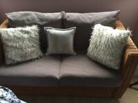 Pretty, small wicker sofa and single chair set, mink upholstered cushions, vgc.