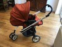 Bebecar ICON 3-in-1 all terrain pushchair, pram, stroller in burgundy