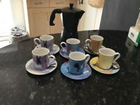 "Set of 6 ""Aurora Spence"" Espresso Cups and Saucers and Black Espresso Pot"