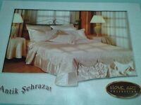 King size gold quilted bedcover and pillow cases