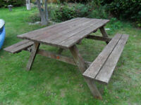 A Wooden picnic table bench pub garden outdoor 150cm wide-Fold up seats-Garden Furniture-Collect