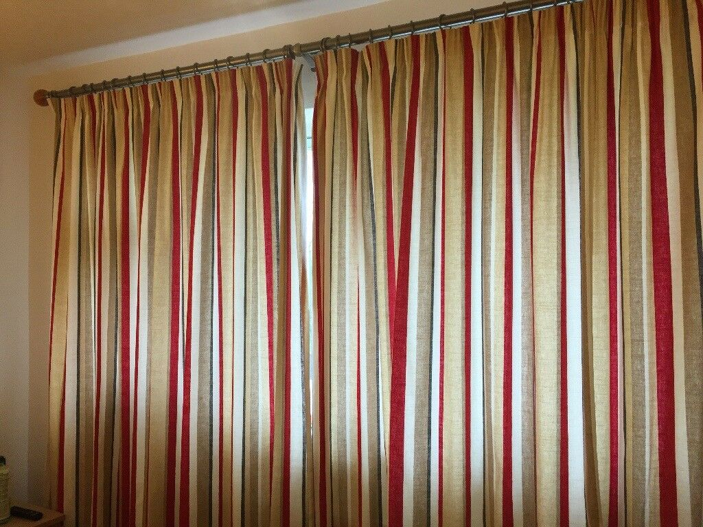 Laura Ashley red/neutral striped curtains, 90 x 90   in Beverley ...