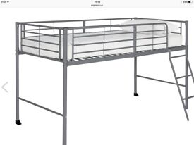 Mid sleeper, grey metal framed bed with plenty if storage underneath with guard rail