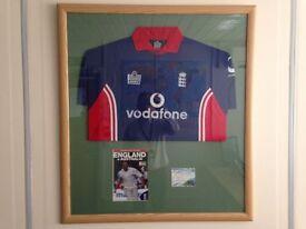 Andrew Freddie Flintoff Signed Shirt and Program V Australia 2005 Ashes Winning Series