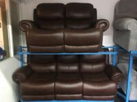 NEW / EX DISPLAY Leather LazyBoy Clarendon 3 + 2 Seater Recliner Sofas With Studs