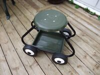STOOL ON WHEELS with underneath tray for garage/garden/household jobs etc.