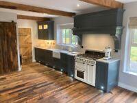 Solid reclaimed oak flooring