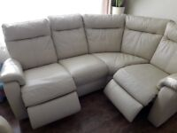 Leather recliner corner sofa and chair