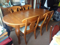 Large Solid Wood Dining Table & 4 Chairs