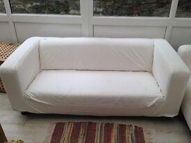 2 X cream ikea klippen sofas