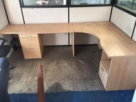 Large sturdy corner office desk and drawers