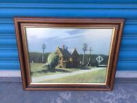 VINTAGE RETRO FRAMED ART PAINTING PRINT PICTURE AMERICAN TRAIN RAILROAD LANDSCAPE SDHC