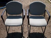 15 - GOOD QUALITY STACKING ARM-CHAIRS - GREY/GREEN COLOUR - PROPER CHAIRS - NOT CHEAPO CHINESE JUNK