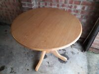 Solid Oak/Wood Round Drop Leaf Dining Table.To Seat 4. VGC. Shabby Chic/Upcycling Project. £25 ONO