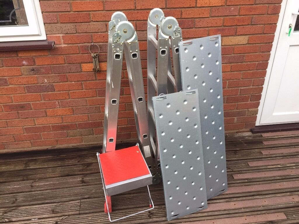 """4x4 Multi Purpose Ladder (RRP199.99in Stourbridge, West MidlandsGumtree - 4x4 Multi Purpose Ladder (RRP £199.99) Closed Height 1.20m Ladder Width 0.68m Platform Height 1.20m Platform Length 2.0m Step Ladder Height 2.30m Ladder Height 4.75m search for """"laddersandscaffoldtowers"""" to see product online . PLEASE NOTE £60..."""