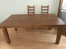 Large ikea Formby dining table and 6 chairs