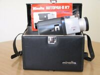 For sale a Vintage 8mm Minolta Autopak -8 K7 cine camera with a Rokkor lens, owner's manual and case